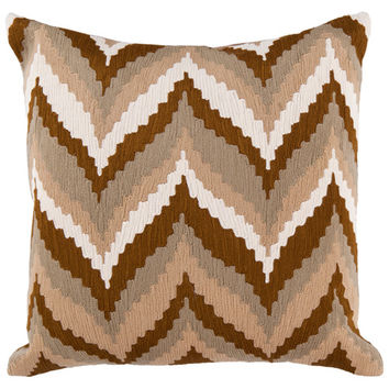 Surya Rugs AR058-1818D 18-Inch Square Golden Brown, Safari Tan, Caper Green, and Papyrus Striped Cotton Pillow Cover with Down Insert