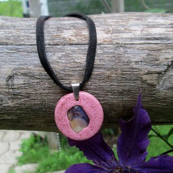 Handmade Pink Polymer Clay Pendant with Embedded Seashell on Black Velvet Necklace