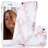 """GOLINK iPhone 6 Case/iPhone 6S Case for Girls, Shiny Rose Gold Marble Series Slim-Fit Ultra-Thin Anti-Scratch Shock Proof Dust Proof Glossy TPU Case for iPhone 6/6S4.7"""" - White&Rose Gold"""