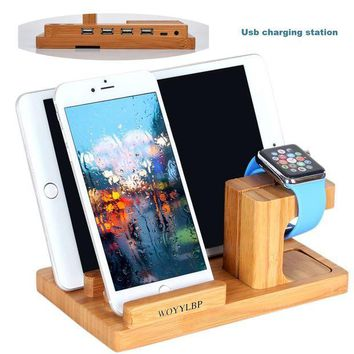ICIK4S2 iPhone charger dock,WOYYLBP iPhone charger station and Apple Watch stand,Bamboo Wood 3-Port Cradle iPhone Usb charging station. (Bamboo Wood2)