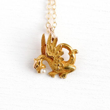 Antique Dragon Necklace - Vintage 14k Yellow Gold & Seed Pearl Pendant - Edwardian 1900s Fine Stick Pin Conversion Figural Serpent Jewelry