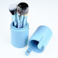 12pcs Pro Cosmetic Makeup Brush Set Make up Tool + Leather Cup Holder Case kits
