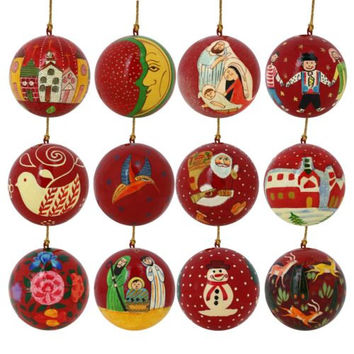 Set of 12 Chistmas Ornaments Handpainted hanging/Bauble/tree decoration/Red ornament/Christmas robin/snowman/Mary/Jesus/Santa/church/moon