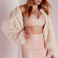 Missguided - Petite Faux Leather Mini Skirt Nude