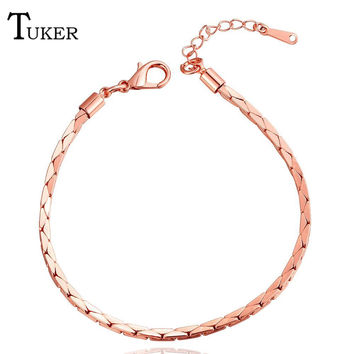 Fashion Rose Gold color Filled Classic Lady's Closed Charm Bracelets For Women Mens Chain Unisex Boys Girls Trendy Jewelry