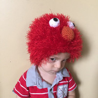 Handmade crochet Elmo inspired disney character hat , Elmo beanie, hat for kids, Elmo hat, photo drop.