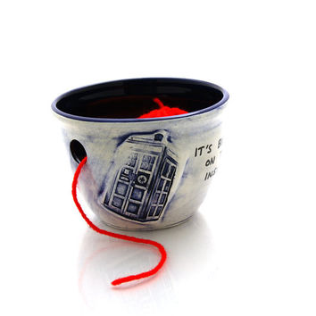 Doctor Who Yarn Bowl, Tardis, bigger on the inside, handmade ooak knitting bowl for knitter, crochet