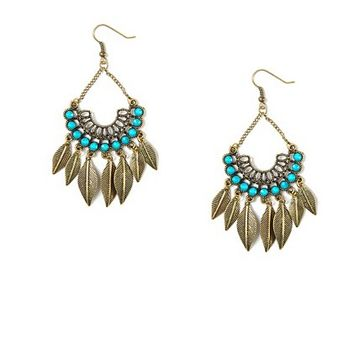 Antique Gold Beaded Crescent Drop Earrings with Leaf Charms  | Claire's