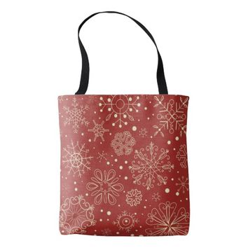 Beige Mahogany Christmas Snowflakes Background Bag