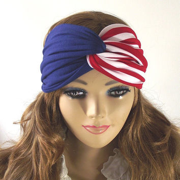 AMERICAN FLAG Boho Turban Twist Headband Head Scarf Red White and Blue Headwrap Stretchy July 4th Headband Patriotic Hair Band