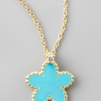 ROBERTO COIN - Yellow Gold Diamond Turquoise Flower Pendant Necklace