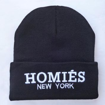 ac NOOW2 HOMIES NEW YORK Beanie Warm Winter Unisex Fashion Embroidered Knitted Womens & Mens Black Cuffed Skully Hat