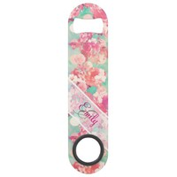 Monogram Pink Retro Floral Pattern Teal Polka Dots Bar Key