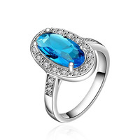 Lover Xmas Gifts Amethyst Jewelry Wedding Dress sky blue stone ime Ring Platinum Plated Jewellery FBLR003