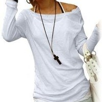 Sheer Long Sleeves Round Neck Pullover Shirt for Ladies