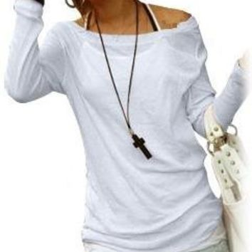 Sheer Long Sleeves Round Neck Pullover Shirt L for Ladies