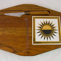 Vintage 1960s Wooden Gold & Black Sunburst Cheese Tray and Knife