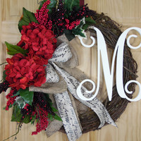 Christmas Wreath - Holiday Wreath - rustic wreath - Christmas grapevine wraeth