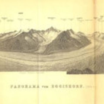1899 Panorama of the Eggishorn, Switzerland, Bernese Alps, Antique Drawing, Baedeker