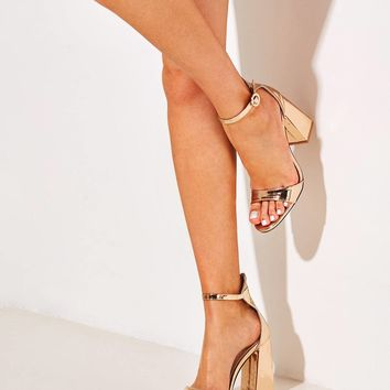 Metallic Gold Ankle Strap Chunky Heels