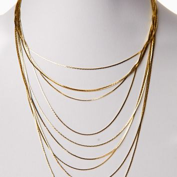 Gold Layered Chain Necklace/Earring Set
