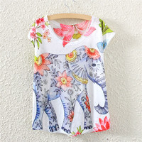 White Short Sleeve Elephant and Flower Print Top