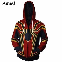 Ainiel The Amazing 3D Print  Iron Spider man Cosplay Costume Spiderman Homecoming Costume Hoodies Sweatshirts Coat Zipper Man