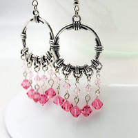 Pink Earrings, Silver Hoop Earrings, Silver Chandelier Earrings