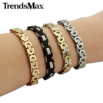 Trendsmax 6/8/11mm Friendship Gold Plated Flat Byzantine Stainless Steel Bracelet Motorcycle Biker Mens Chain KBM16