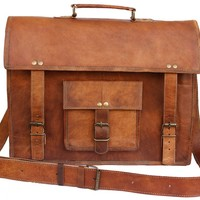 Leather Bags Now 15'' Unisex Genuine Leather Messenger Laptop Bag SatchelSPH