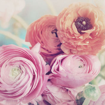 Still Life Photograph, Ranunculus Bouquet, 5x7 Print, Shabby Chic , Fine Art Photo, Flower Photography