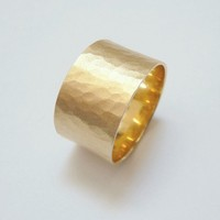 Yellow gold wedding band  hammered 12mm wide wedding ring for men and women