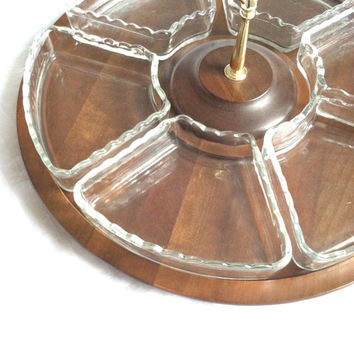 Vintage Vermillion Real Walnut Lazy Susan/Hollywood Regency/Mad Men/Entertainment Serving Table - Ca. 1970's