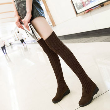 New winter sweater thigh boots women warm high quality elastic boots casual stylish high heel over knee boots botas femininas