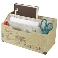 Decorative Sectional Burlap Table Top Organizer Letter Holder