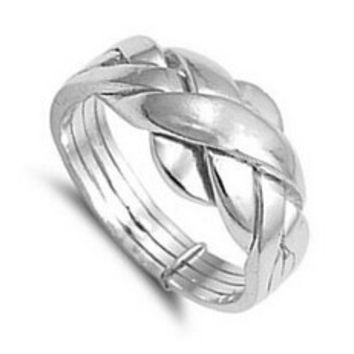 6 925 sterling silver turkish engagement & wedding ring 4 piece band ring puzzle ring for woman, man, boy and girl size 4-12