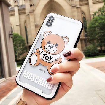 Moschino Tide brand Teddy Bear iPhone XS Max Mobile Shell Glass Transparent Glass Soft Shell white