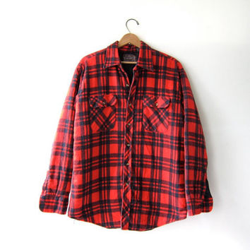 Vintage Plaid Flannel Jacket / Grunge Shirt / Button up insulated shirt / quilted coat