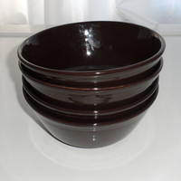 4 Brown Ironstone Soup Bowls, C and E Staffs of England,Vintage 1950s Soup Bowls, Excellent Vintage Condition, Set of 4 Dark Brown Bowls