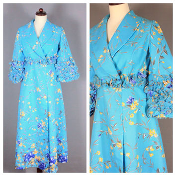 Vintage Maxi Coat Dress Duster Robe Coat House Coat Flowers Floral Ruffles 60s 70s Psychedelic Turquoise Blue Yellow