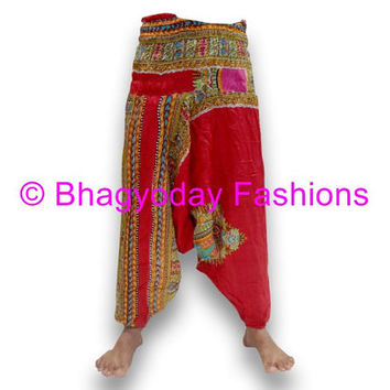 Harem Trouser Baggy Loose Genie Harem Pants Trouser jumpsuit Yoga Boho Gypsy Indian women Ladies Belly Dance Indian  Printed Pants