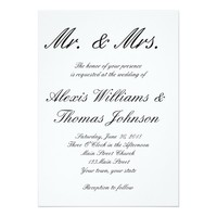 Simple Typography Black and White Wedding Invite