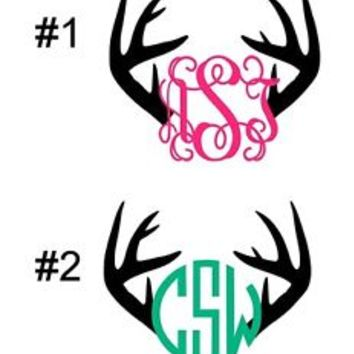 Monogram Initials Deer Antlers Vinyl Diecut Decal Car Wndw,Laptop,More FREE SH