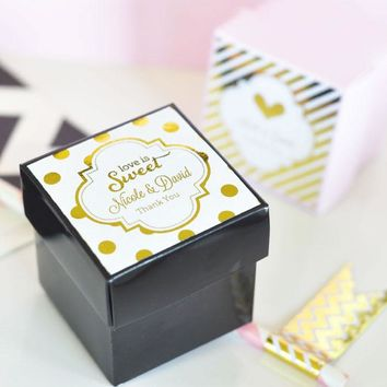 """Personalized Metallic Foil 2"""" Square Favor Labels & Tags - Wedding"""