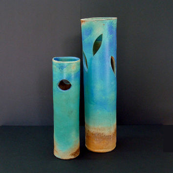 Ikebana set, large vase, turquoise vase, tall vase, blue base, stoneware, high fired