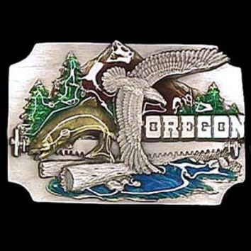 Oregon Eagle/Fish Enameled Belt Buckle
