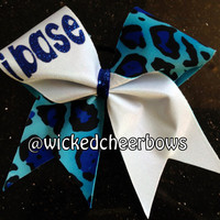 Cheer Bow - I Base in Blue Cheetah