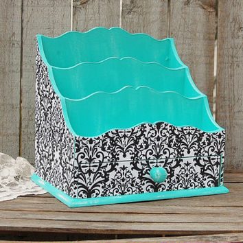Organizer, Desk, Art, Cosmetic, Shabby Chic, Aqua, Turquoise, Black, Damask, Distressed, Hand Painted, Large, Desk Storage