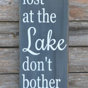 Lake Sign Lake House Decor Chalkboard Housewarming Gift Rustic Wood Signs Cottage Cabin Wall Art Hand Painted Quotes Wooden Life Plaque