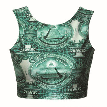 Print Tops Slim Vest Bottoming Shirt [4919539844]